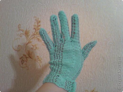 """Перчатки-моя страсть нитки""""Сирень"""" фото 4"""