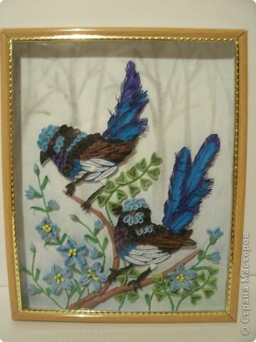 Птички в голубых цветах (квиллинг) фото 1