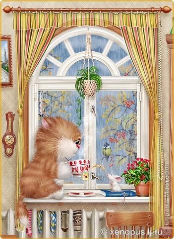 Рыжий котик на подоконнике. фото 2