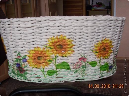 Это моя вторая работа в технике плетения из газет, первая была тут же подарена сестрёнке. фото 2