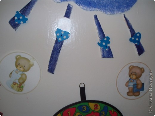 вот такой мы сделали уголок эмоций в группе для детей, идею взяли в интернете, на лучиках в сердечках фото детей, в течении дня наблюдаем, и расставляем в сердечки, капризен на  тучку, веселый -солнышко, под лучиками фото медвежат грустных  и веселых фото 5