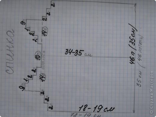 Вот такой миша! Работа делана давно, кофта сама по себе очень проста.  Спинка : набираем 46 петель и вяжем 18-19 см, убавляем 3 раза  по 2 петли по краю с двух сторон. Через 34-35 см общего вязания делим петли, оставляя по середине 10 петель, получится 14-10-14. Дальше  закрываем средние 10 петли и каждую из сторон вяжем отдельно. В первом и втором ряду убавили по 2 петли, в 3  ряду убавили  одну.Таким образом, должно остаться 9 петель.Больше убавлений не будет с этой стороны, закрываем все петли. Аналогично вяжем и другую сторону.  Капюшон: набрать все петли горловины спинки и планок, провязать 25 см, закрыть все петли, сшить в верху. В низ кофты вставила шнурок.  В общем, так запутанно написала, ниже  схема на бумаге. Так будет проще! фото 3