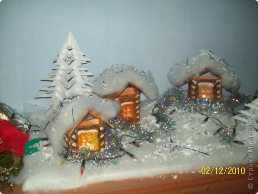"""Однажды, увидев в """"Стране мастеров"""" рождественскую деревню, я просто загорелась   мечтой её сделать. И вот насупает Новый год и Рождество, и у нас в классе появилась своя праздничная деревенька..! фото 4"""