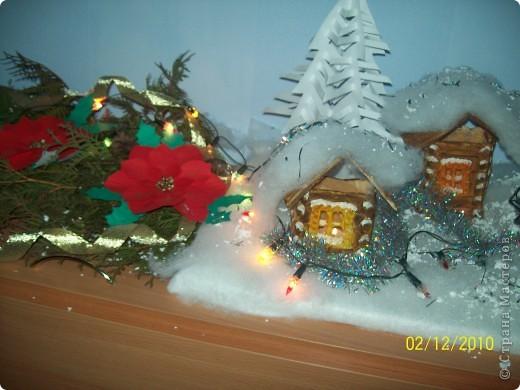 """Однажды, увидев в """"Стране мастеров"""" рождественскую деревню, я просто загорелась   мечтой её сделать. И вот насупает Новый год и Рождество, и у нас в классе появилась своя праздничная деревенька..! фото 2"""