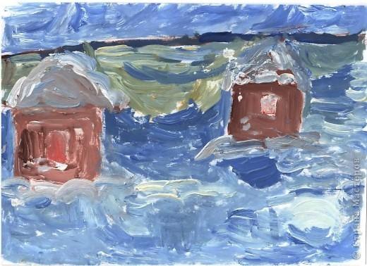 Первая работа зимнего пейзажа Лысовой Виктории, 5,5 лет фото 5