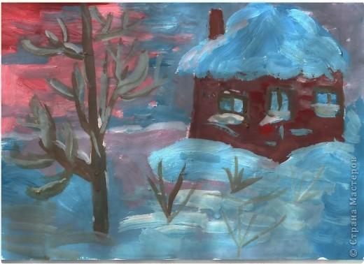 Первая работа зимнего пейзажа Лысовой Виктории, 5,5 лет фото 4