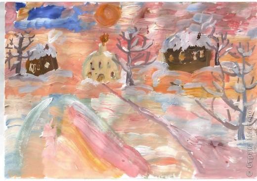 Первая работа зимнего пейзажа Лысовой Виктории, 5,5 лет фото 1