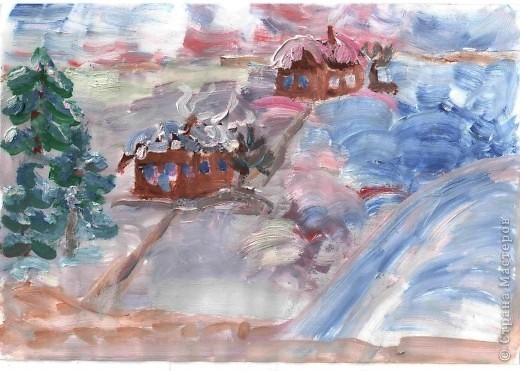 Первая работа зимнего пейзажа Лысовой Виктории, 5,5 лет фото 2