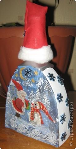 """Бутылочка """"Новый год"""". Работа дочери. фото 2"""