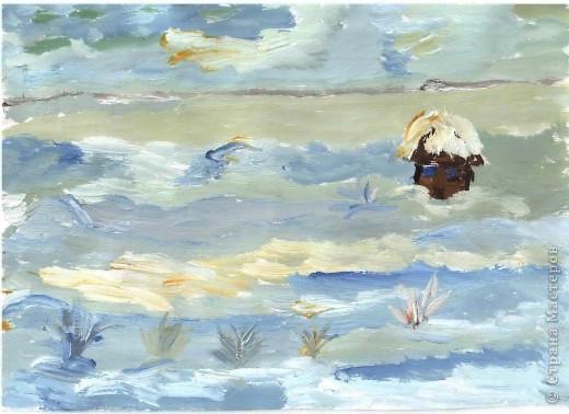 Первая работа зимнего пейзажа Лысовой Виктории, 5,5 лет фото 3