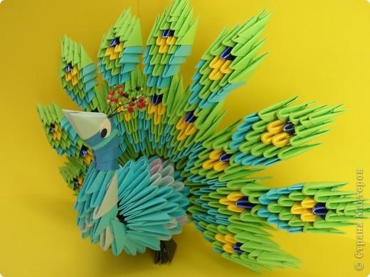 Люблю модульное оригами, подключила к процессу сборки модулей старшую Варвару. Этот павлин украшает группу младшей дочки. фото 1