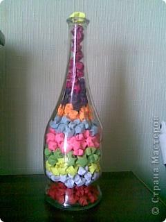 Бутылка заполнена звездочками из бумаги! фото 3