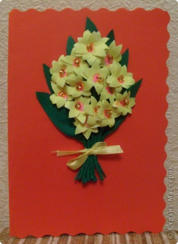Идея открытки взята из страны мастеров. МК птичек - http://stranamasterov.ru/node/20234?c=favorite фото 5
