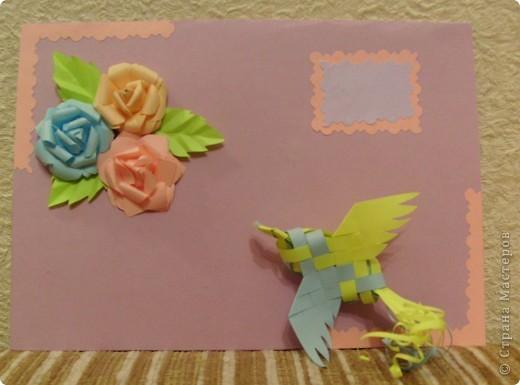 Идея открытки взята из страны мастеров. МК птичек - http://stranamasterov.ru/node/20234?c=favorite фото 1