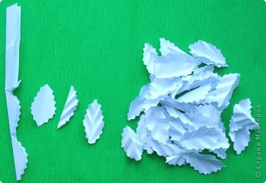 Вот такой рождественский венок можно сделать из бумаги. Такой венок увидела на корейском сайте http://blog.naver.com/paper6262. Только, конечно же, он у меня немного другой. Цветы в центре  не из бумаги, а из моих любимых бордовых салфеток. Выбрала венок с белыми листочками, так как белый цвет -  символ снежной зимы. Немного поясню, как я  делала этот венок.  Возможно, кому-нибудь это пригодится. фото 3
