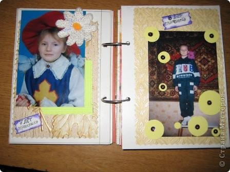 У дочери двадцатилетие...  Для нее сделала такой альбом, в котором показана маленькая частица ее жизни, хотела показать как она росла и как менялась... Специального материала у меня нет, поэтому делала из того что было под рукой.  фото 5