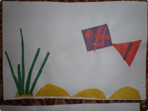 Рыбка (аппликация из геометрических фигур) фото 1