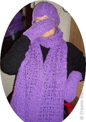 Шапка и шарф связаны крючком, варежки - спицами фото 1