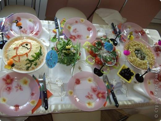 Год назад я готовила праздничный ужин гостям по поводу первого года своей доченьки.и придумала такое вот сказочное меню...может кому-то пригодится на любой праздник...  Меню. Висело в кухне над праздничным столом,каждый читал и отгадывал блюда фото 2
