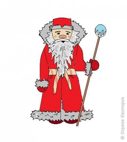 Очень хотелось самой научиться рисовать Деда Мороза. Можно украсить открытки, поделки.  Вот как у меня получилось.  Хочу и Вам предложить попробовать. фото 1