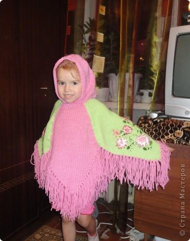Пончо для племянницы, дочь моя только в качестве модели фото 1