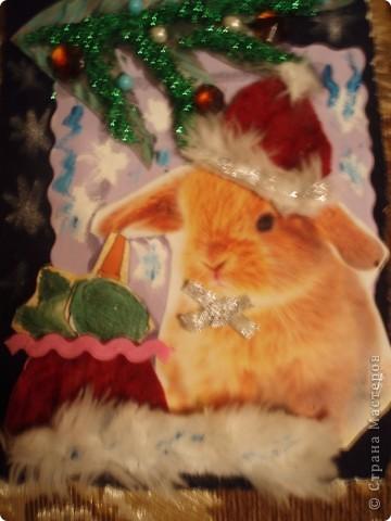 вот такую открытку я сделала как образец, завтра на занятие:))) в мешочке подарки капуста и морковь:))) фото 2