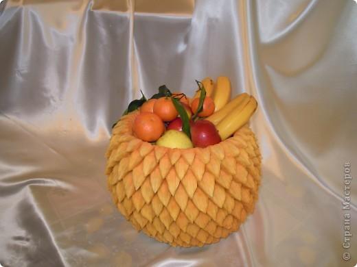 Поделка корзина с овощами из тыквы 49