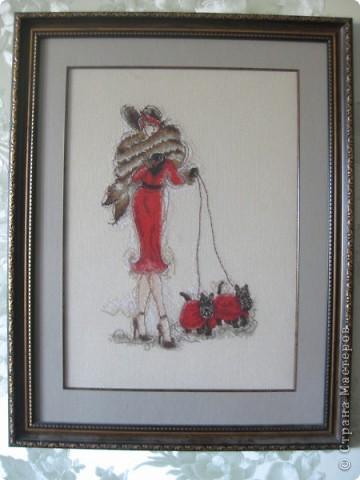 Дама в красном с собачками фото 1