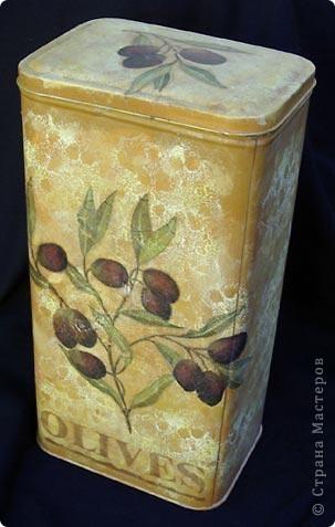 Баночка для чая. Обожаю оливки! Вот будет у меня своя собственная кухня - вся будет в оливках.  фото 1