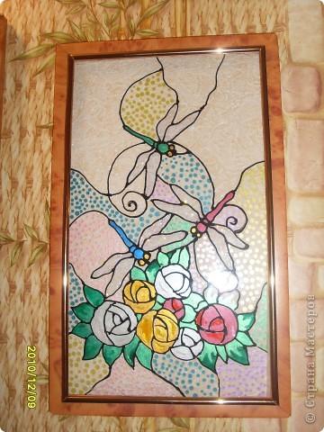 Для витража использовала витражные краски, получились вот такие веселые ирисы. фото 2