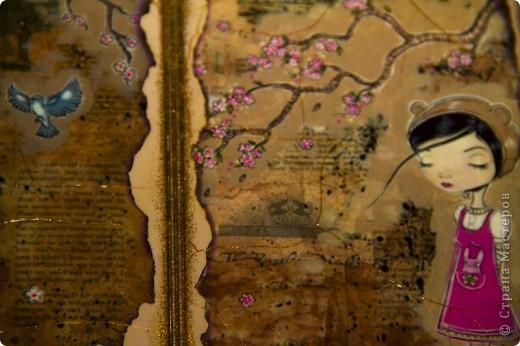 Синтетическая обложка, декорированная в технике декупаж, искусственно состаренная кракелюрным лаком. В декоре использовалась распечатка работы художника Caia Koopman. фото 2