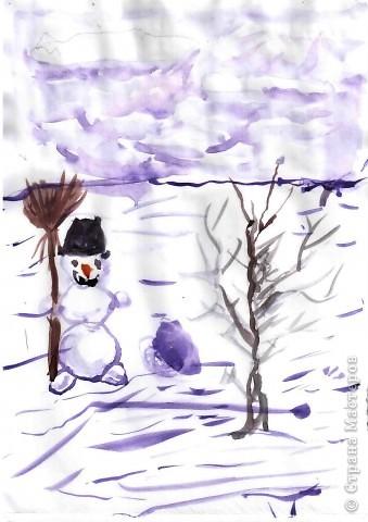 """Снеговик  для Ильи (1 кл) - это  просто, поэтому он решил """"устроить"""" метель, как истинный Мороз. фото 1"""