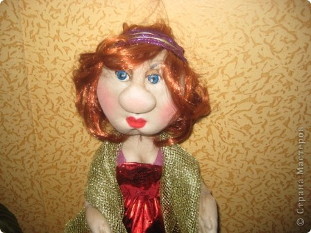 Вот такая дама у меня получилась. Кукла на проволочном каркасе. фото 2