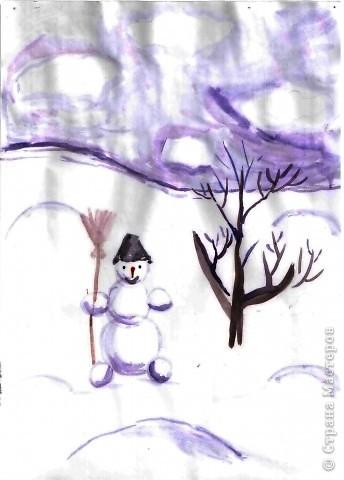 """Снеговик  для Ильи (1 кл) - это  просто, поэтому он решил """"устроить"""" метель, как истинный Мороз. фото 4"""