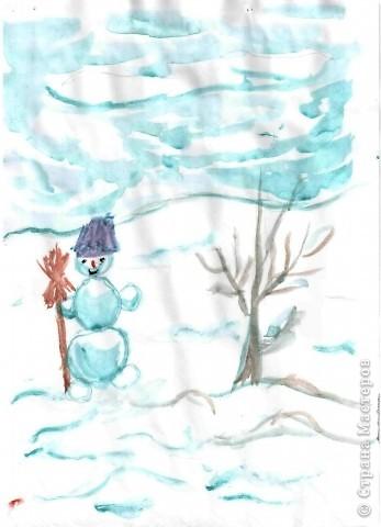 """Снеговик  для Ильи (1 кл) - это  просто, поэтому он решил """"устроить"""" метель, как истинный Мороз. фото 3"""