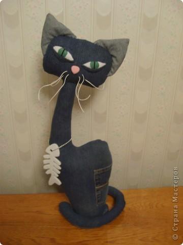 Наши любимые джинсы превращаются в КОШЕК!  Кот Сквозняк от Любы Черкасовой фото 4