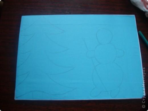 Вот такую картинку сделала Настенька к Новому году. (с моей небольшой помощью) фото 3