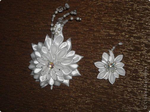Украшение Цумами Канзаши Цветы из лент заколки-9шт  Бусины Ленты фото 1