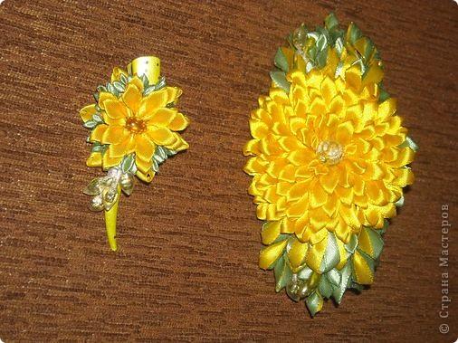 Украшение Цумами Канзаши Цветы из лент заколки-9шт  Бусины Ленты фото 3