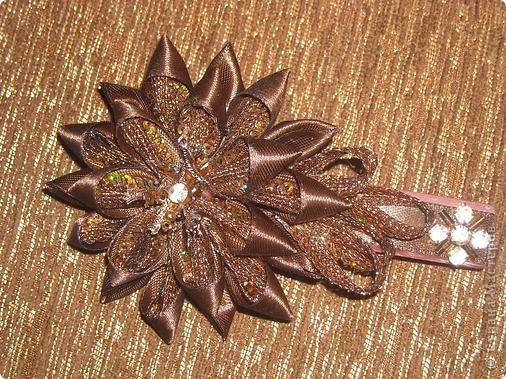 Украшение Цумами Канзаши Цветы из лент заколки-9шт  Бусины Ленты фото 5