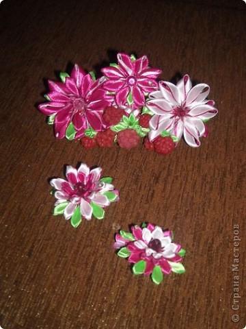 Украшение Цумами Канзаши Цветы из лент заколки-9шт  Бусины Ленты фото 6