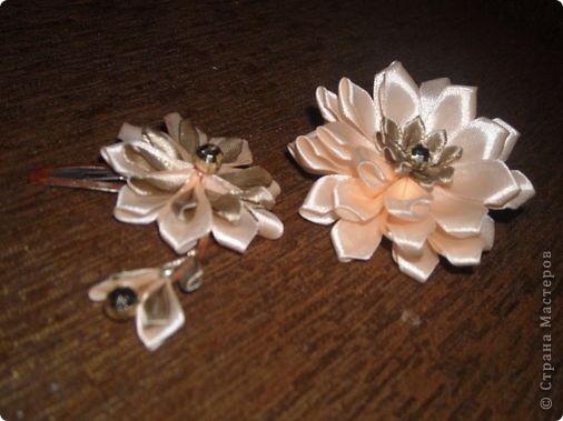 Украшение Цумами Канзаши Цветы из лент заколки-9шт  Бусины Ленты фото 8