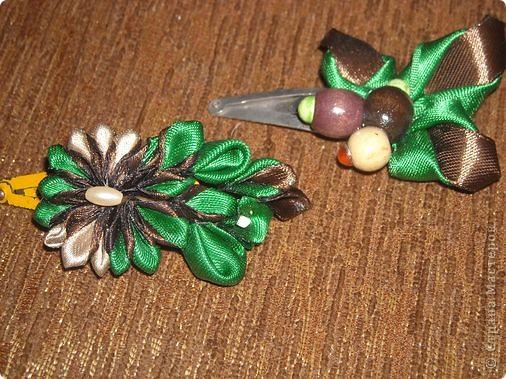 Украшение Цумами Канзаши Цветы из лент заколки-9шт  Бусины Ленты фото 9