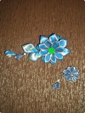 Украшение Цумами Канзаши Цветы из лент заколки-9шт  Бусины Ленты фото 10