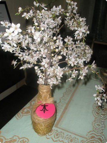 Ваза в японском стиле( цветочки настоящие) фото 1