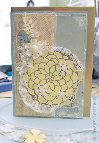 Вот что у меня получилось сегодня - открытка на Новый год родителям)) Цветочек-не цветочек, снежинка-не снежинка)) фото 1
