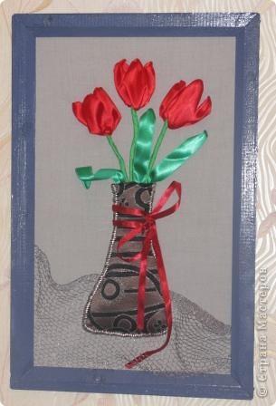 Тюльпаны (вышивка атласными лентами)