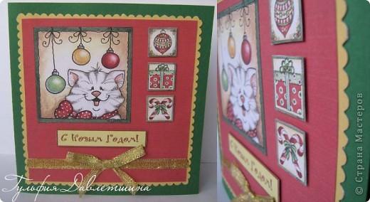 """Увидела картинки http://www.liveinternet.ru/users/2715574/post116091174/ и сразу придумались такие открытки. И решила назвать эту серию открыток """"Новогодние картинки"""". фото 2"""
