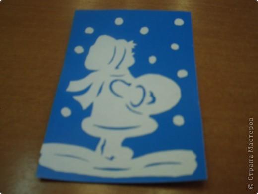 Снеговик вырезан. Снежинки вокруг вышиты. фото 5