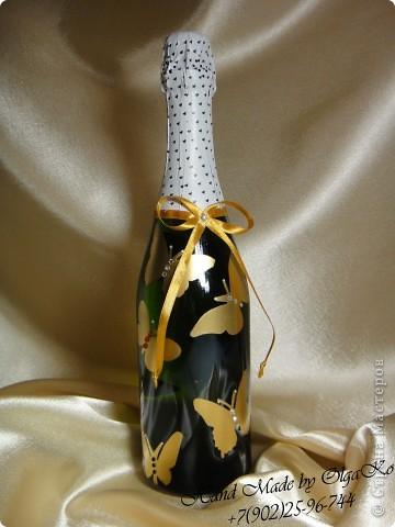 """Задумка этой бутылочки как """"Свадебная"""", оформлена с помощью техники декупаж. Сверху декорирована микробисером.  фото 5"""